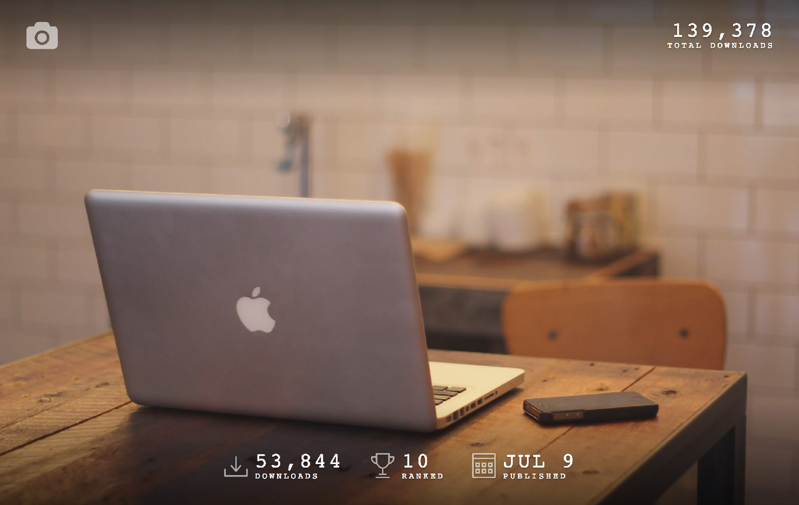 Unsplash Stats view — 50k downloads, 100k total downloads